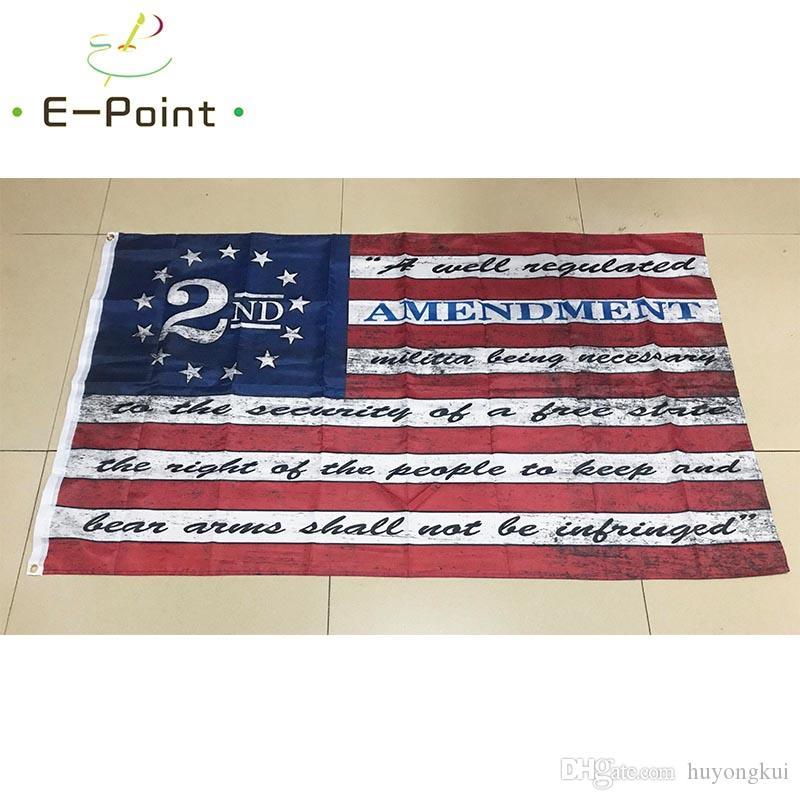 Вторая поправка Урожай американский Открытый Баннер Флаг 3X5ft (90см * 150см) Пользовательские США Хоккей Бейсбол Баскетбол Колледж Флаги