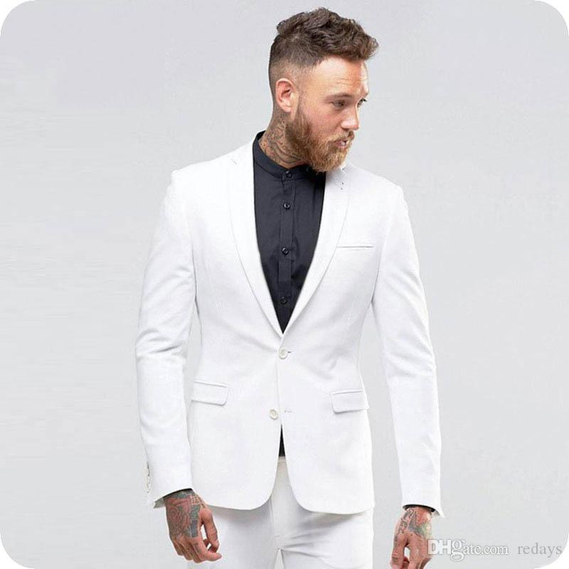 Blanco ocasional del verano de hombres Trajes de boda smoking del novio 2Piece Slim Fit Terno Masculino Masculino chaqueta del hombre de negocios traje clásico traje de Homme