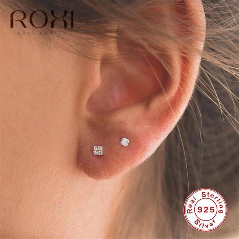 Ear Stud Earrings 925 Sterling Silver Apple Ear Studs