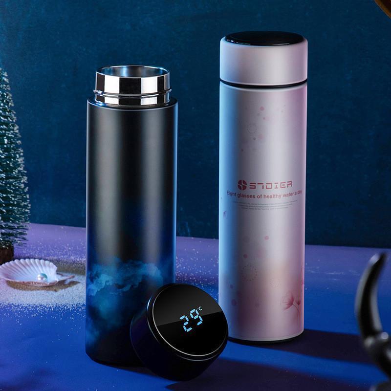 450 ml Thermos Vacuum Flasks Display de temperatura Garrafa de água de aço inoxidável do curso Caneca Tea Milk Caneca Thermo cup