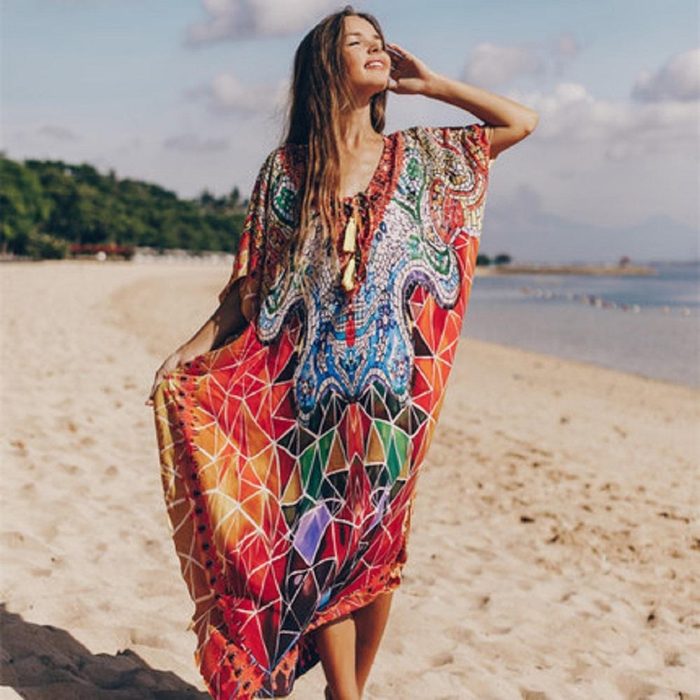 Bohemian Dress Beach Cover Up Oversize Loose Kaftan Dress Beach Cover Up Plus Size Dress Kaftan Long Dress