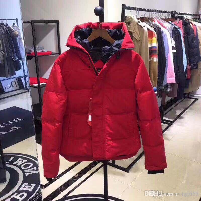 Caliente Hombres Mujeres Canadá breve Parag abajo de la chaqueta abajo cubre para hombre caliente al aire libre de la pluma del ganso chaqueta del invierno Outwear chaquetas Parkas tamaño XS-2XL