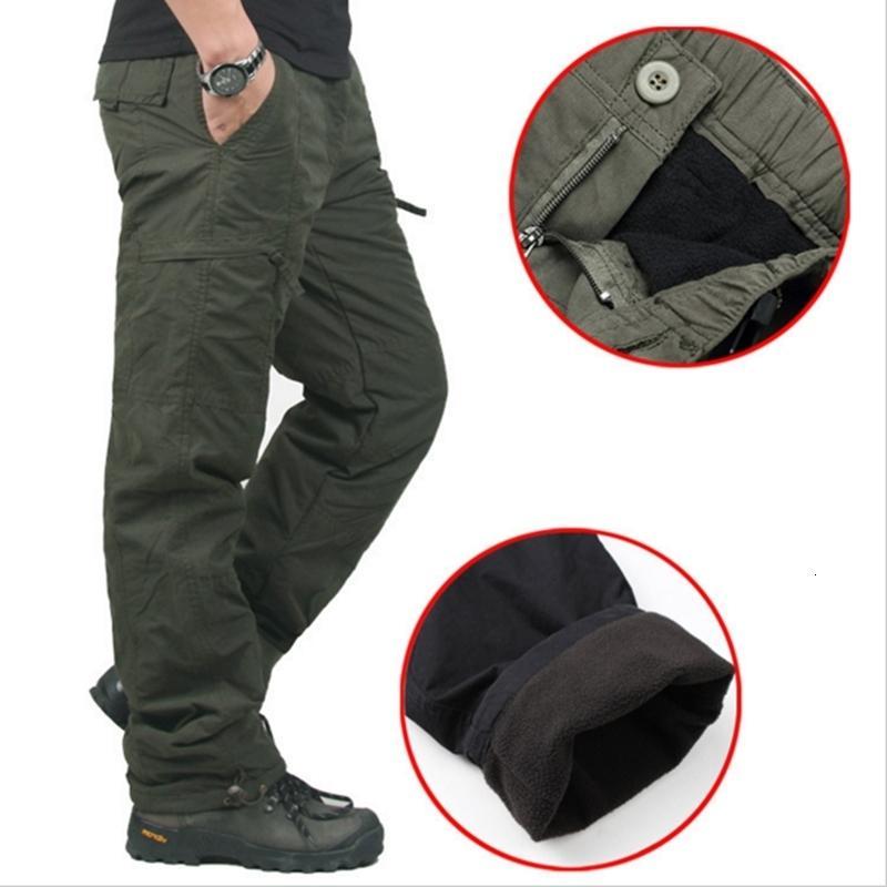 Di alta qualità inverno caldo degli uomini spessi pantaloni a doppio strato militare dell'esercito camuffamento tattico Cotone pantaloni per gli uomini di marca ClothingLY191112