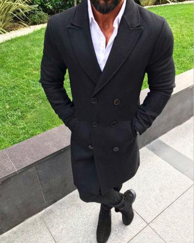 Mens Winter Warm Trench Coat Double-Breasted Overcoat Long Jacket Outwear