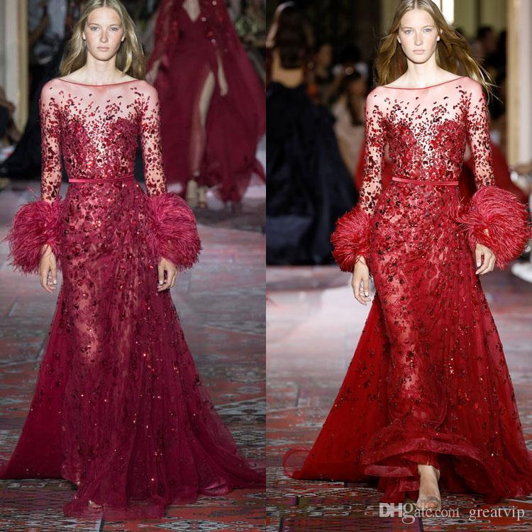 Zuhair Murad lujosos vestidos de noche Sheer manga larga con cuello de piel con las lentejuelas con cuentas vestido de la alfombra roja vestidos de Prom Nueva pista del vestido de la manera