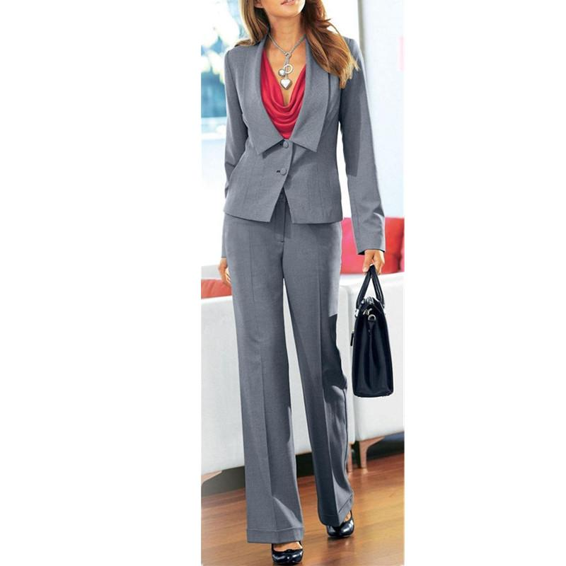 Grey Women Ladies Business Office Tuxedos 2 Piece Jacket+Pants Work Wear Suits Custom size and color