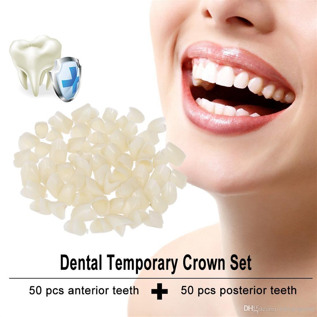 حزمة من 100pcs التي الأسنان المؤقتة ولي الاماميه الأسنان الجبهة الضرس الخلفي طبيب الأسنان منتجات طب الأسنان مواد الطبيعة اللون