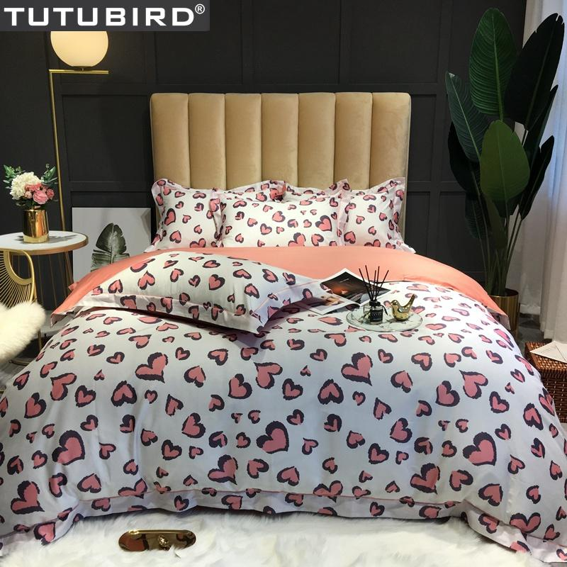 Pink Heart Shaped Bedlinen Lover Egyptian Cotton Bedding Set Duvet Cover Satin Bedspread Queen King Size Bed Set In Living Room From Bdhome 74 78 Dhgate Com