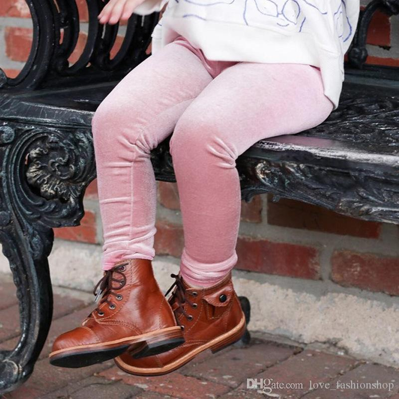 التجزئة 4 ألوان أطفال بنات الذهب المخملية مصمم طماق نحيل يغطي الرجل sweatpants سراويل ضيقة السراويل ملابس الأطفال بوتيك