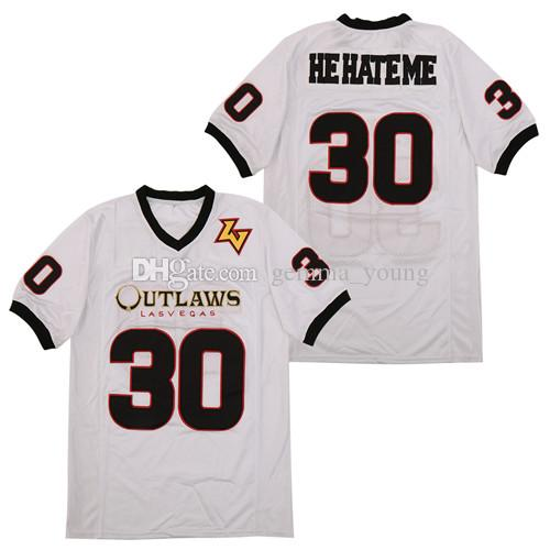 2021 Mens Las Vegas Outlaws He Hate Me #30 White Jerseys XFL ...