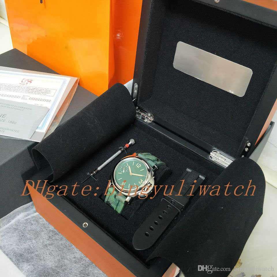 الفاخرة مصنع جديد ووتش 44 ملليمتر الأخضر الوجه كامو حزام سوبر P 111 ميكانيكية اليد متعرجا حركة أزياء رجالي ساعات مع أوريينا مربع