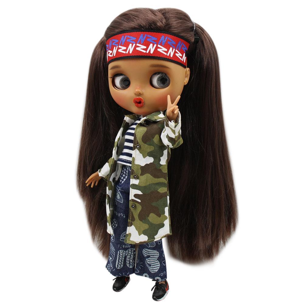 Trajes para Blyth doll Chaqueta de camuflaje con chaleco y pantalón para 1/6 Joint body doll BJD