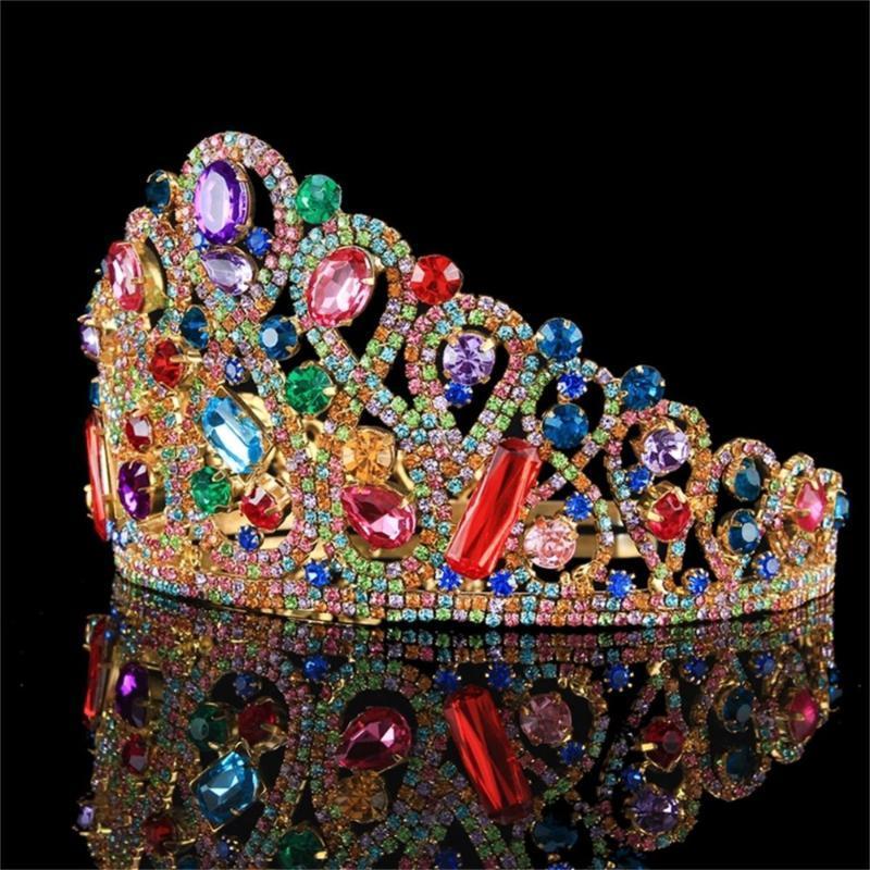 Новые Великолепные Повязки Старинные Барочные Диадемы Для Королевы Невесты Красные Хрустальные Короны Свадебные Украшения Для Волос Головные Аксессуары