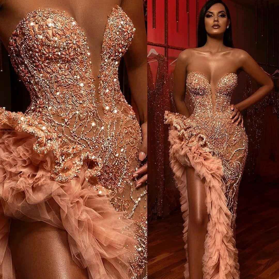 Zarif Akşam Örgün Elbiseler 2020 Sevgiliye Boncuk Kristaller Seksi Balo Abiye Uyluk Yüksek Slits Payetli Katmanlı Ruffles Robes de Soirée