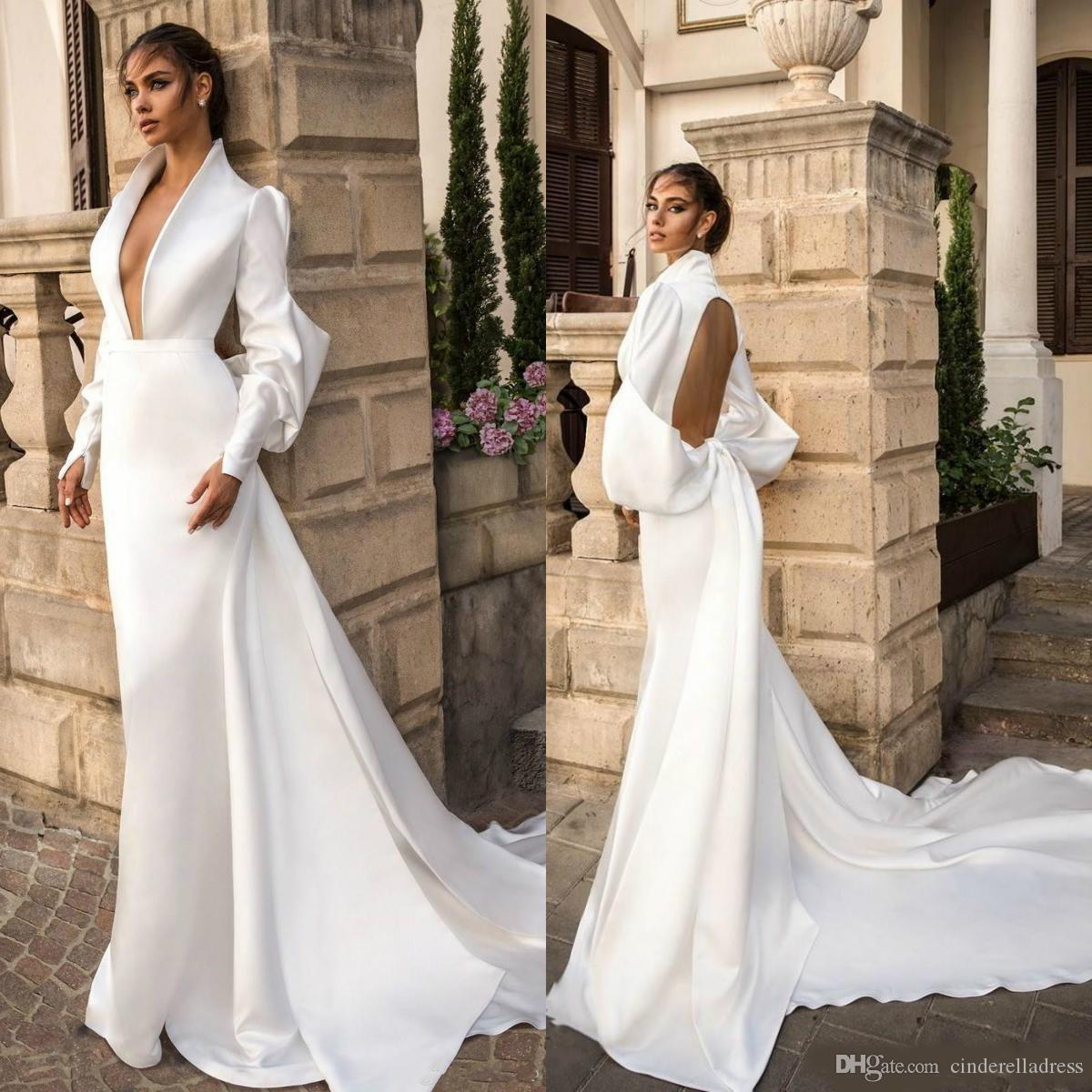 2020 New Country White Satin Mermaid Wedding Dresses Deep V Neck Long Sleeve Garden Sweep Train Plus Size Backless Wedding Bridal Gowns