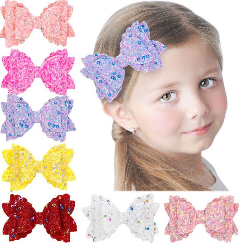 7Color sequin hair bows girls hair clips Three bows girls barrettes glisten designer hairclips kids hair accessories B1000