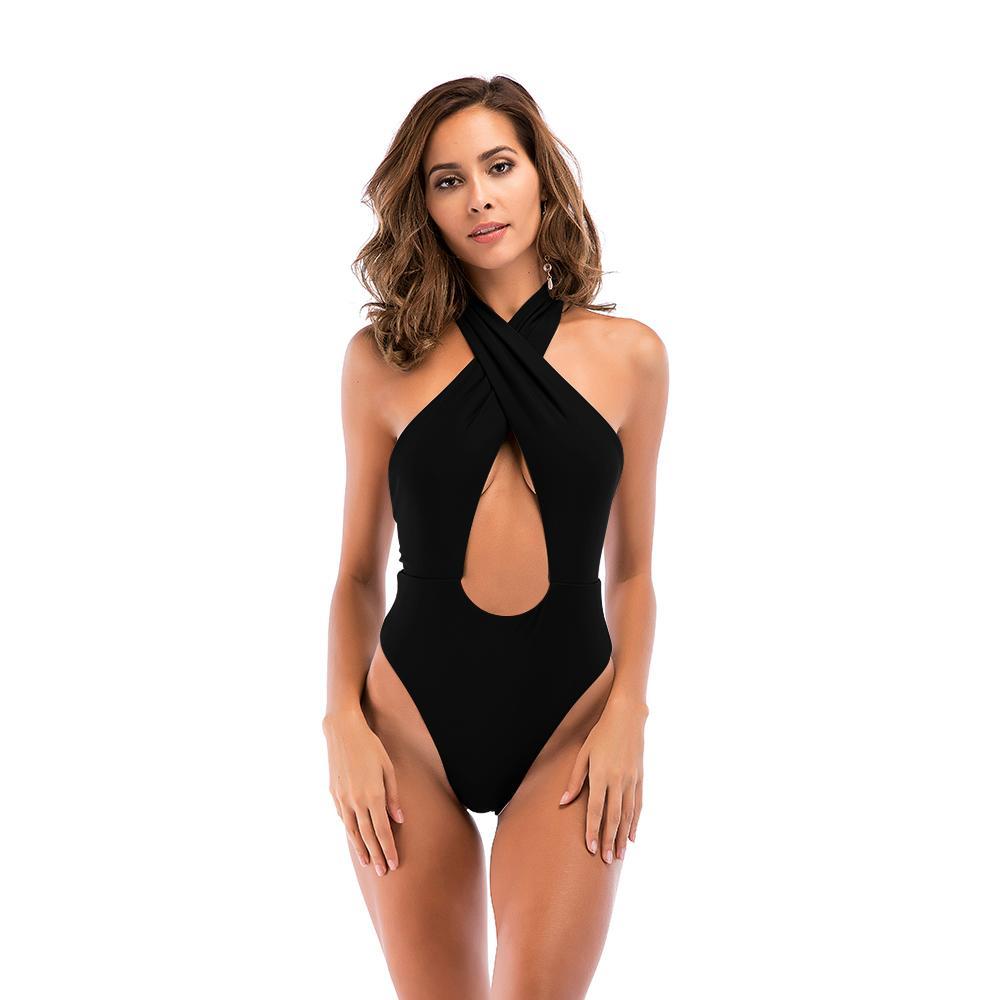Blesskiss Sexy Halter Bademode Badeanzug Frauen Kreuz Rückenfrei Monokini Bademode Badeanzüge Badeanzug Frauen Bodysuit Schwarz