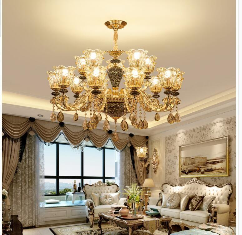 Moderne LED-Lampen Factory Direct Sell 6 Arme D60cm goldene Farbe Kristallleuchter Decora European Gold Kristall-Kronleuchter AC 100% garantiert