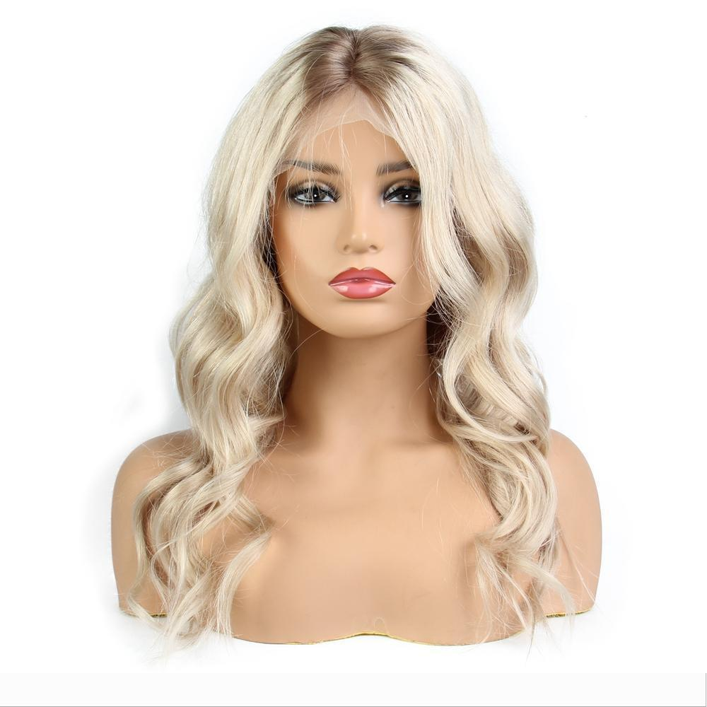 Ombre Platinum Blonde brésilienne perruque vague de corps avant de dentelle de perruques de cheveux humains pré-plumé avec bébé cheveux Remy Hair