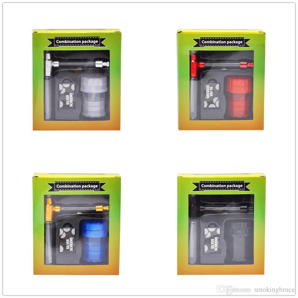 Edelstahl-Bildschirm-Tabak-Kräuter-Rohre Set Plastikkräuter-Kräuter-Mühlen-Metall-Glas-Raucher-Pipes-Metall-Bildschirme Raucher-Accessoire