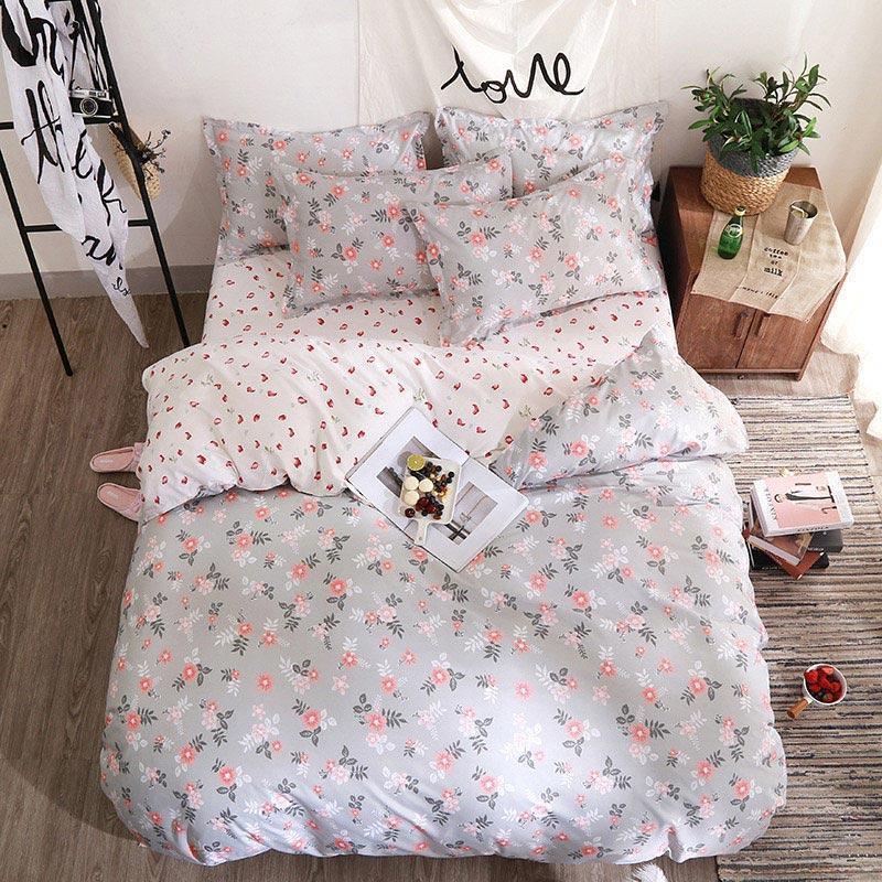 38 Fleur 4pcs Girl Guy Guy Bed Cover Couverture Ensemble Couvre-lit Adulte Enfant Draps et taies d'oreiller