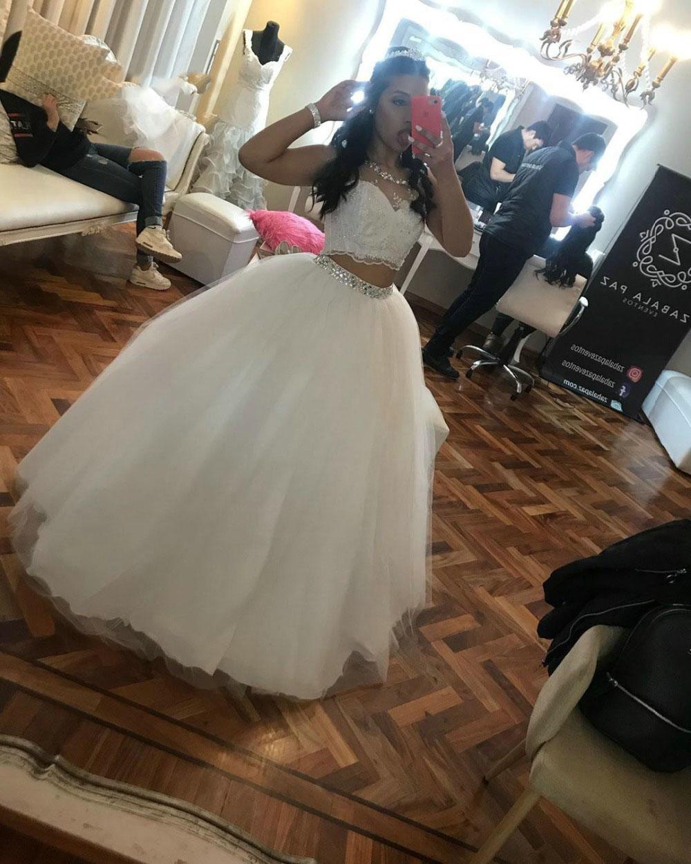Sexy deux pièces robe de bal Deux styles longues et courtes robe perlée cristaux Robe formelle Tulle Soirée Filles Gala Party Robe