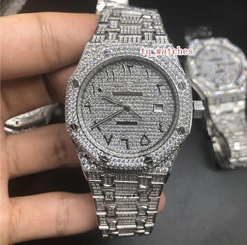 Prata Diamante Relógios Masculinos Árabe Balança Digital Top Fashion Diamante Hot Sale Assista Diamante Aço Inoxidável Automático Mecânica relógios