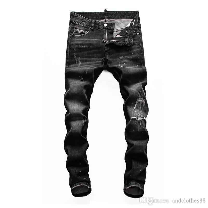 2020 Top qualité Marque Designer mens Trous de skinny jeans hommes Mode Pantalons Italie jeans de marque violet motard Ripped de luxe