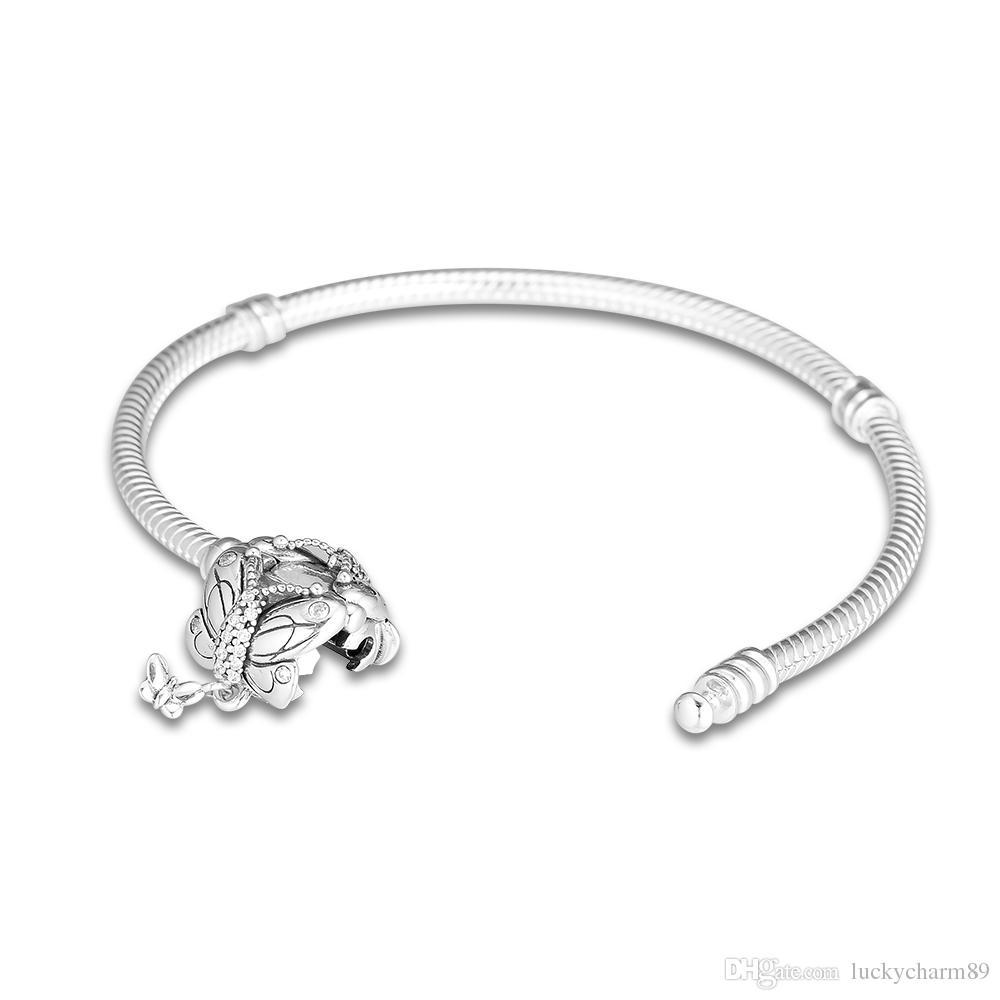 925 Momentos Sterling Silver Pandora Bracelet decorativa Butterfly Clasp cobra corrente da Bangle Fit Bead encanto Diy Europa Jóias 15cm