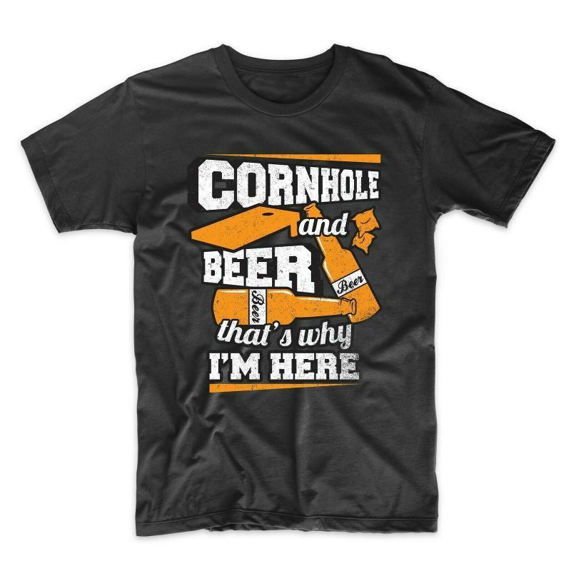 Cornhole Cornhole And Beer That's Why I'm Here Funny T-Shirt graphic retro Tops Tee Shirt