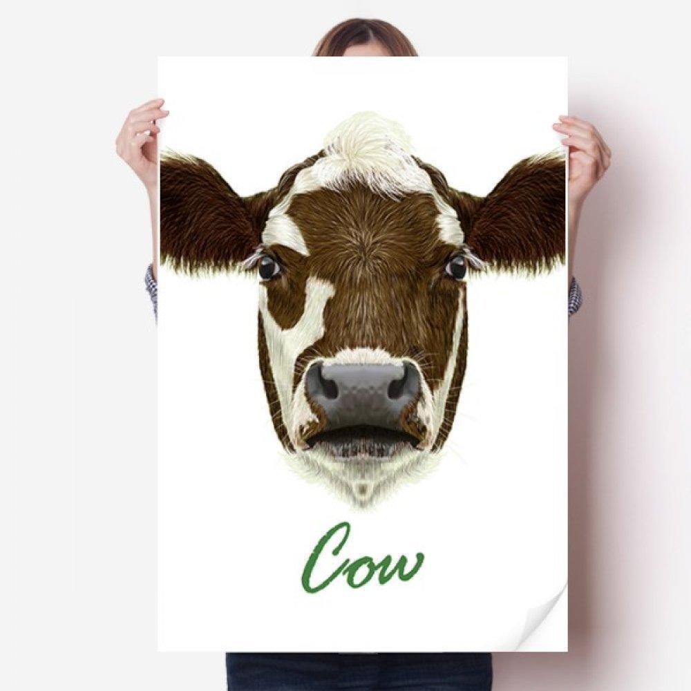 DIYthinker Kahverengi-Beyaz Yerli Süt Inek Hayvan Vinil Duvar Sticker Posteri Duvar Kağıdı Odası Çıkartması 80X55 cm