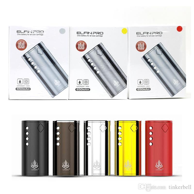 Подлинный LVSmoke Elfin Pro Предварительный нагрев VV Box Mod 650 мАч Батарея Электронная сигарета Vape Mods Kit для всех 510 Резьбовой картридж Tape Vape Mod