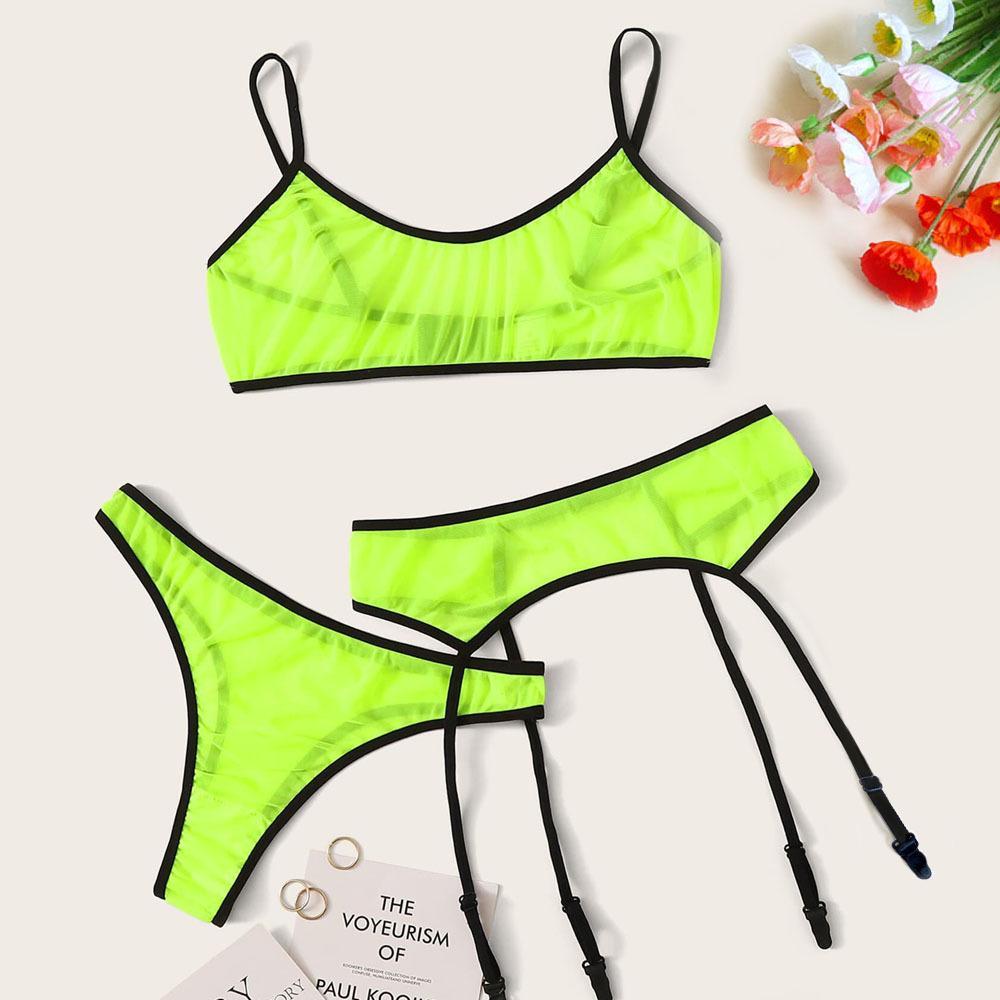 2020 new sexy underwear hot three-point mesh fluorescent perspective bra set with garters and interesting underwear green and orange