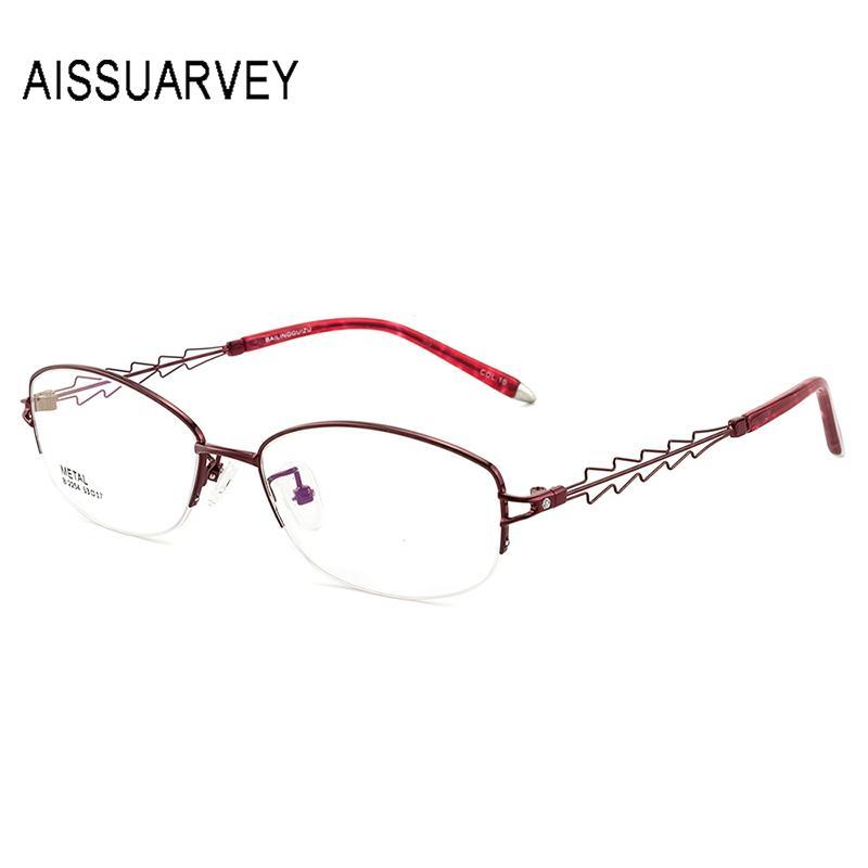 Diseñador de aleación de moda hueco medio borde mujer gafas de prescripción gafas de Metal óptico gafas marcos para mujeres gafas