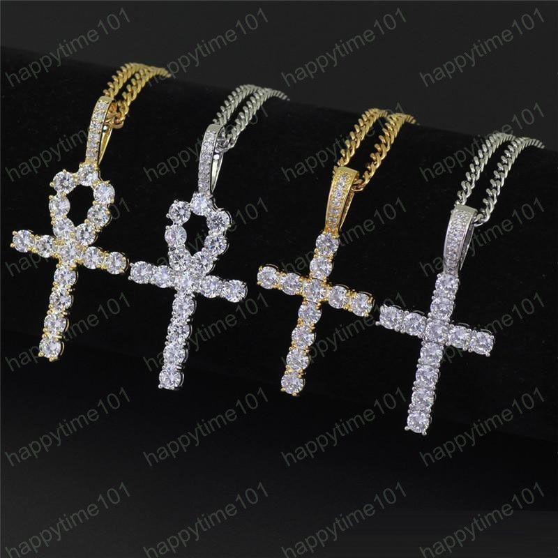 Croce ciondolo di diamanti collana di catene d'argento zirconi di rame degli uomini mens donna gioielli di hip hop catena cubana design di lusso collane