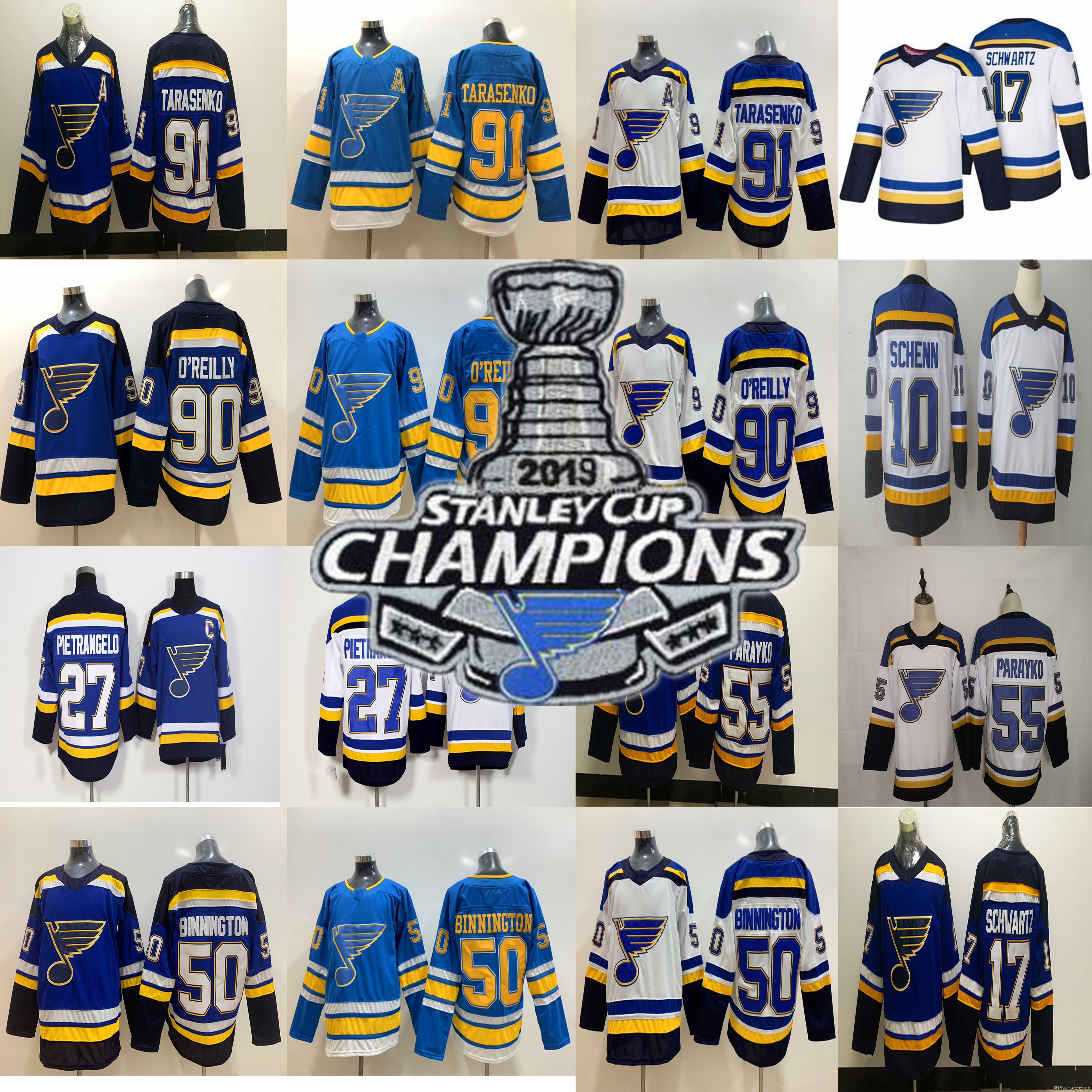 2019 Stanley Cup Champions patch di St. Louis Blues 27 Alex Pietrangelo 55 Colton Parayko 90 Ryan O'Reilly 91 Vladimir Tarasenko Hockey maglie