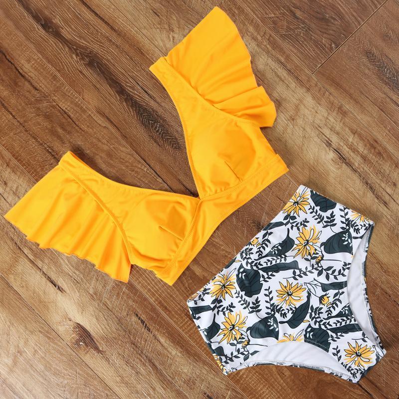 Volante del traje de baño de las mujeres con cuello en V 2020 brasileño atractivo tanga de leopardo Bikini de Animales y Plantas empuja hacia arriba el traje de baño de cintura alta Sólido Biquini