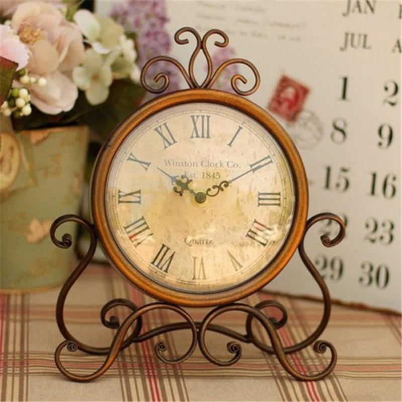 Vintage DIY Quartz Silent Alarm Clock Glass Cover Creative Crafts Roman Clock Rooms Mute Needle Table Household Wall Decor