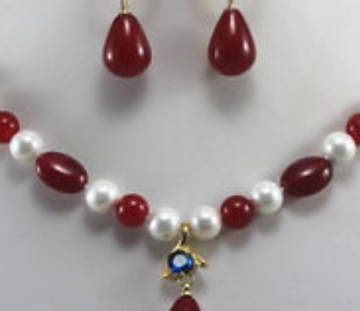 necklace Free shipping ++++Fast + New Design 8mm 2 color Pearl/Jade Necklace Earring Crystal Pendant Jewelry Set
