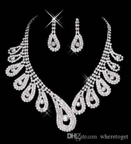 15042 저렴한 뜨거운 판매 Womens 신부 웨딩 대회 라인 석 목걸이 귀걸이 쥬얼리 세트 파티 신부 쥬얼리