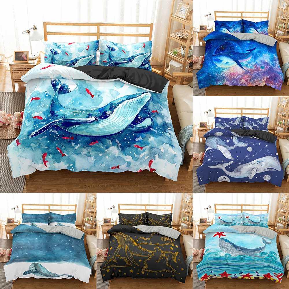Homesky Balina Yatak Seti Hayvan Nevresim Seti Mavi ve Beyaz Suluboya Yatak Hometextiles Balık Okyanus Deniz Bedclothes 3d