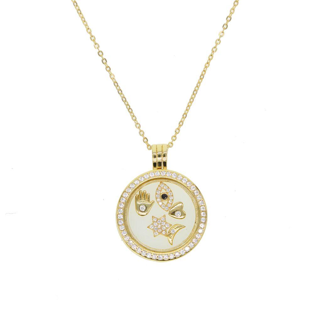 925 Sterling Silver hamsa Fatima,evil eye ,heart star Mixed beads CZ Memories Floating Box Necklaces & Pendants Luxury Jewelry