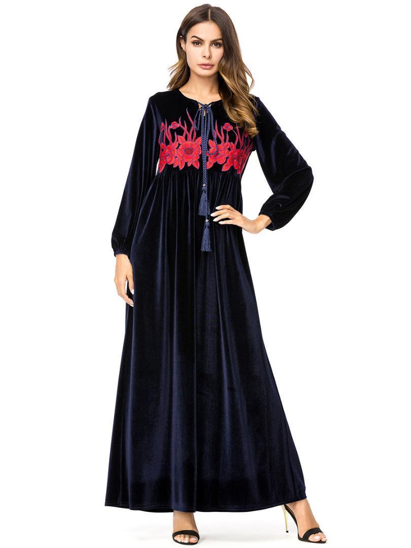 2018 벨벳 이슬람 Abaya 드레스 자수 벨벳 kaftan 가을 겨울 이슬람 무슬림 파티 드레스 아랍 로브 7215