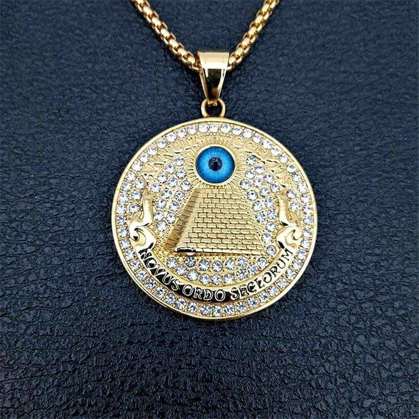 Goldene ägyptische Pyramide Halsketten-Anhänger für Männer Iced Out Strass Evil Eye Of Horus Ketten Schmuck Geschenke