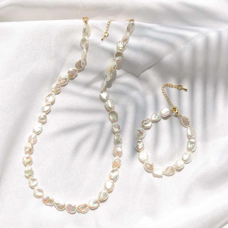 Perle d'eau douce naturelle Collier ras du cou Bracelet perle baroque Bijoux pour Femmes Coffret Cadeau