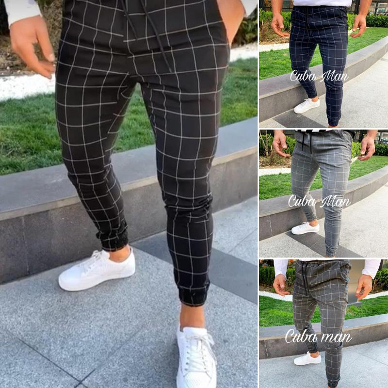 2020 de Sexy alta Wasit Primavera-Verão Men Moda bolso Slim Fit manta perna reta Calças Casual lápis Jogger Calças Casual