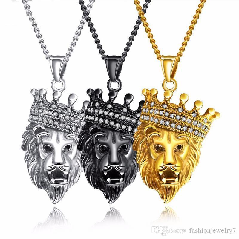 Cool corona CZ LION's Head Collana Collana Leone Faccia per uomo Catena di collegamento in acciaio inox Catena cubica Zirconia Mans Collane pendente Collane Regalo di compleanno
