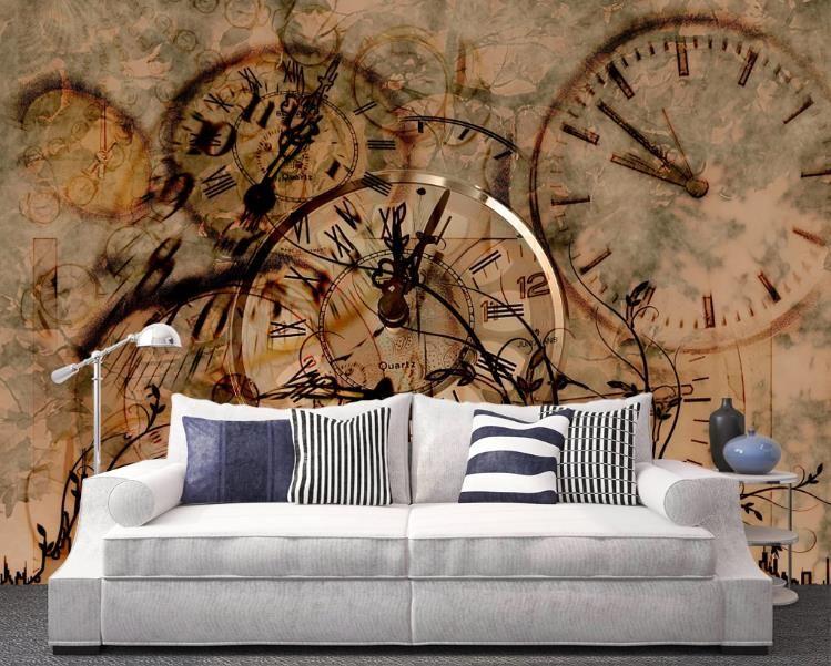 Personalizado 3D Wallpaper Europeia nostálgico retro padrão de relógio da cidade Photo Mural Wallpaper sofá da sala de Fundo Afrescos
