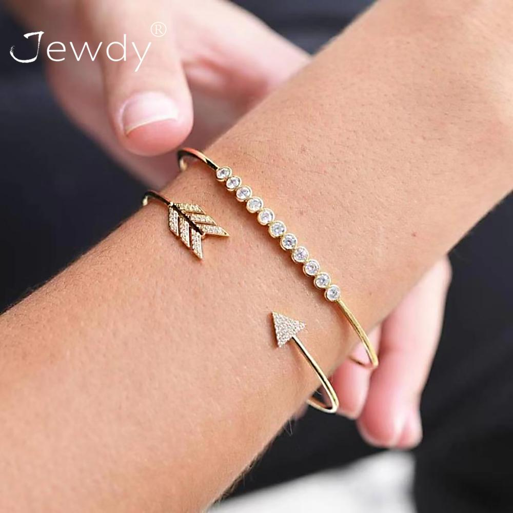 2 Pcs/set Vintage Cuff Bracelet Bangles For Women Brief Gold Color Open Arrow Knotted Charms Bracelet Jewelry Valentines Gift