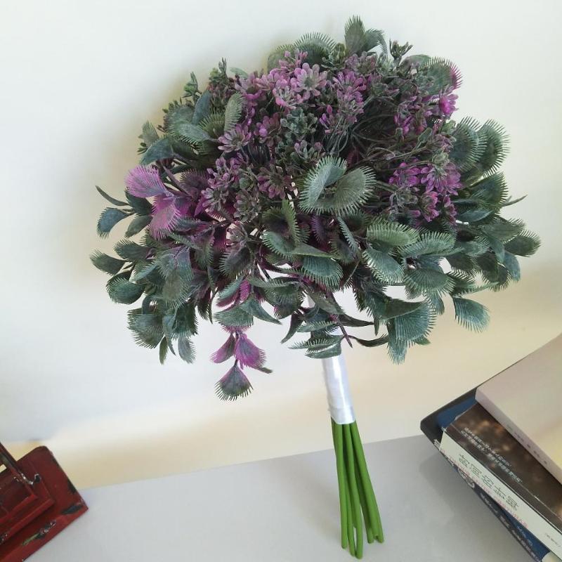 الشخصية 46CM 8PC الاصطناعي الأرجواني مروحة ورقة بانش قماش الحرير باقة الزفاف زهرة ترتيب النباتات زهرية حزب ديكور المنزل